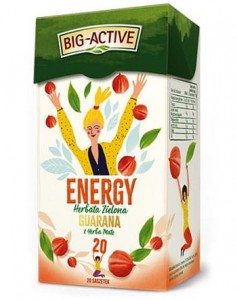 BIG-ACTIVE HERBATA ZIELONA ENERGY GUARANA Z YERBA MATE 20TB